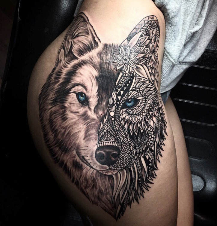 geometric mosaic wolf tattoo
