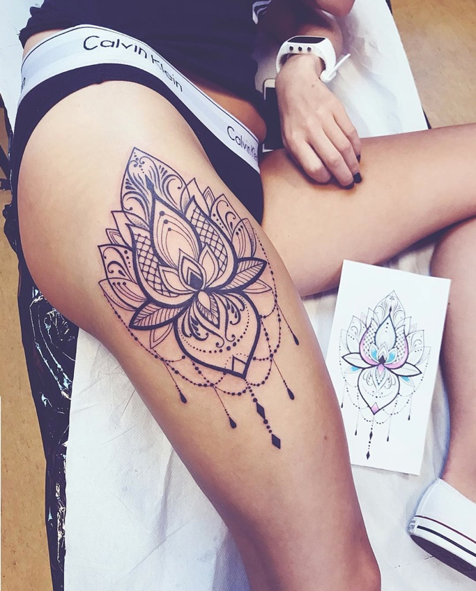 Lotus mandala tattoo by angelika ferrous for Tattoos for women s thighs