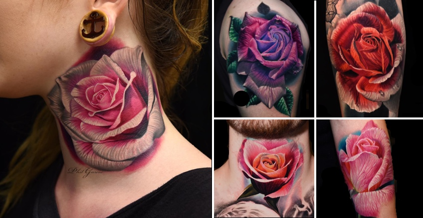f7085a291 Color Rose Tattoos by Tattoo Artist Phil Garcia