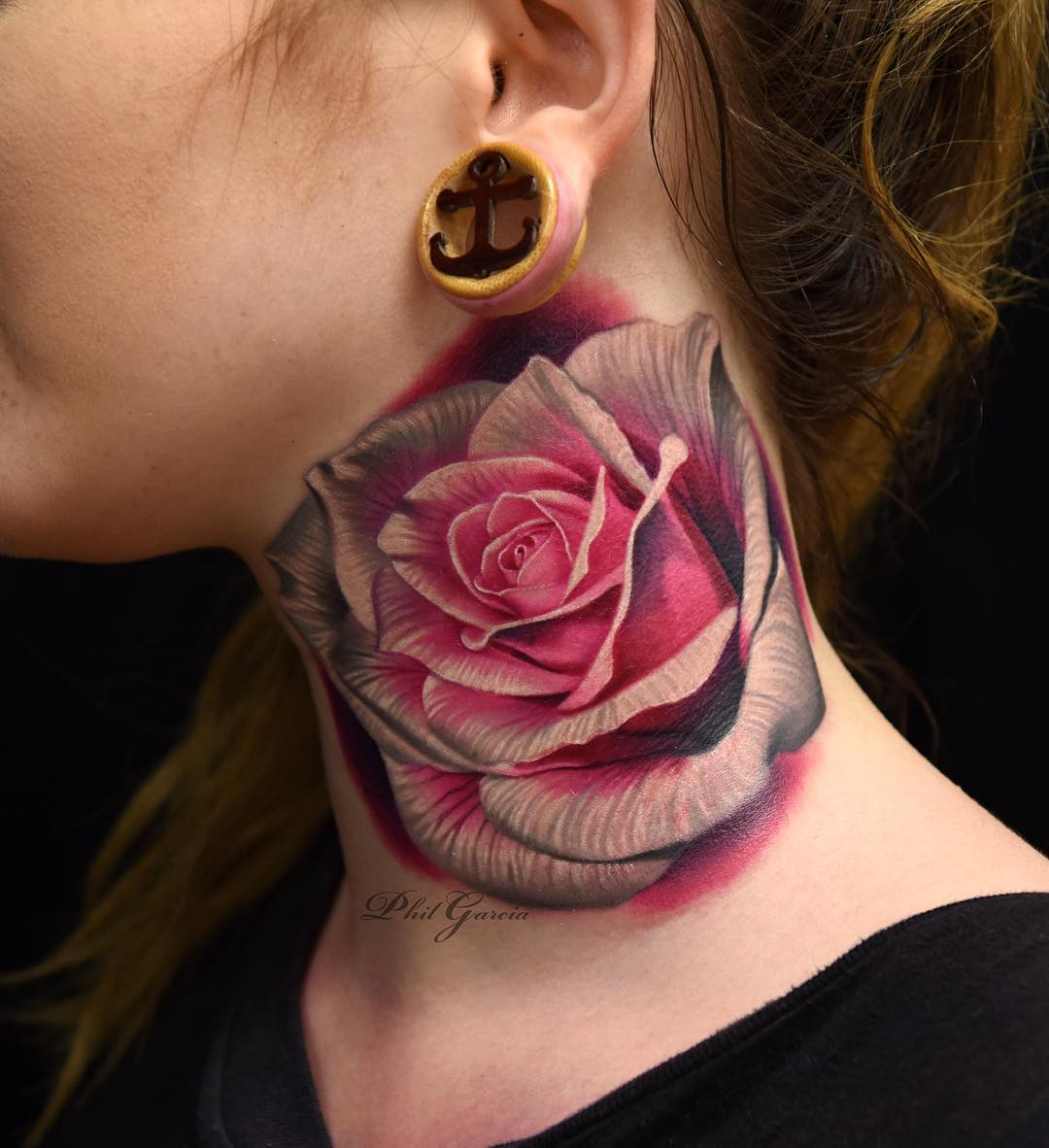 "f54f25b75 ""Tattooed on a cool lady from Australia, a pink rose on the neck bone!"" – Tattoo  Artist Phil Garcia"