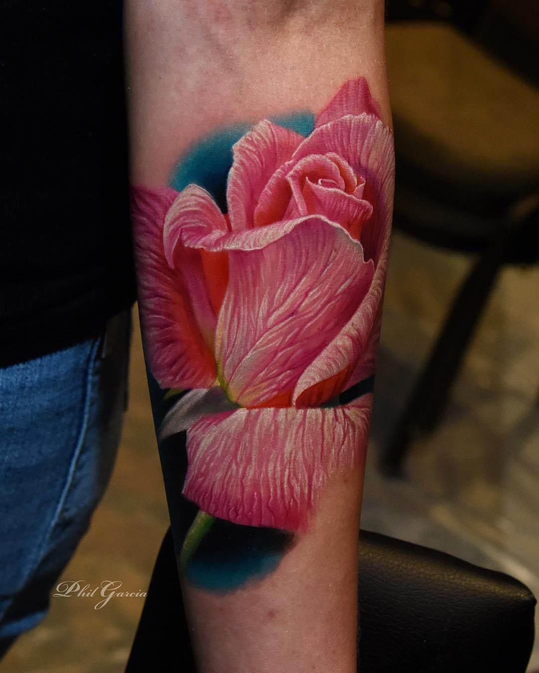 Color Rose Tattoos by Phil Garcia