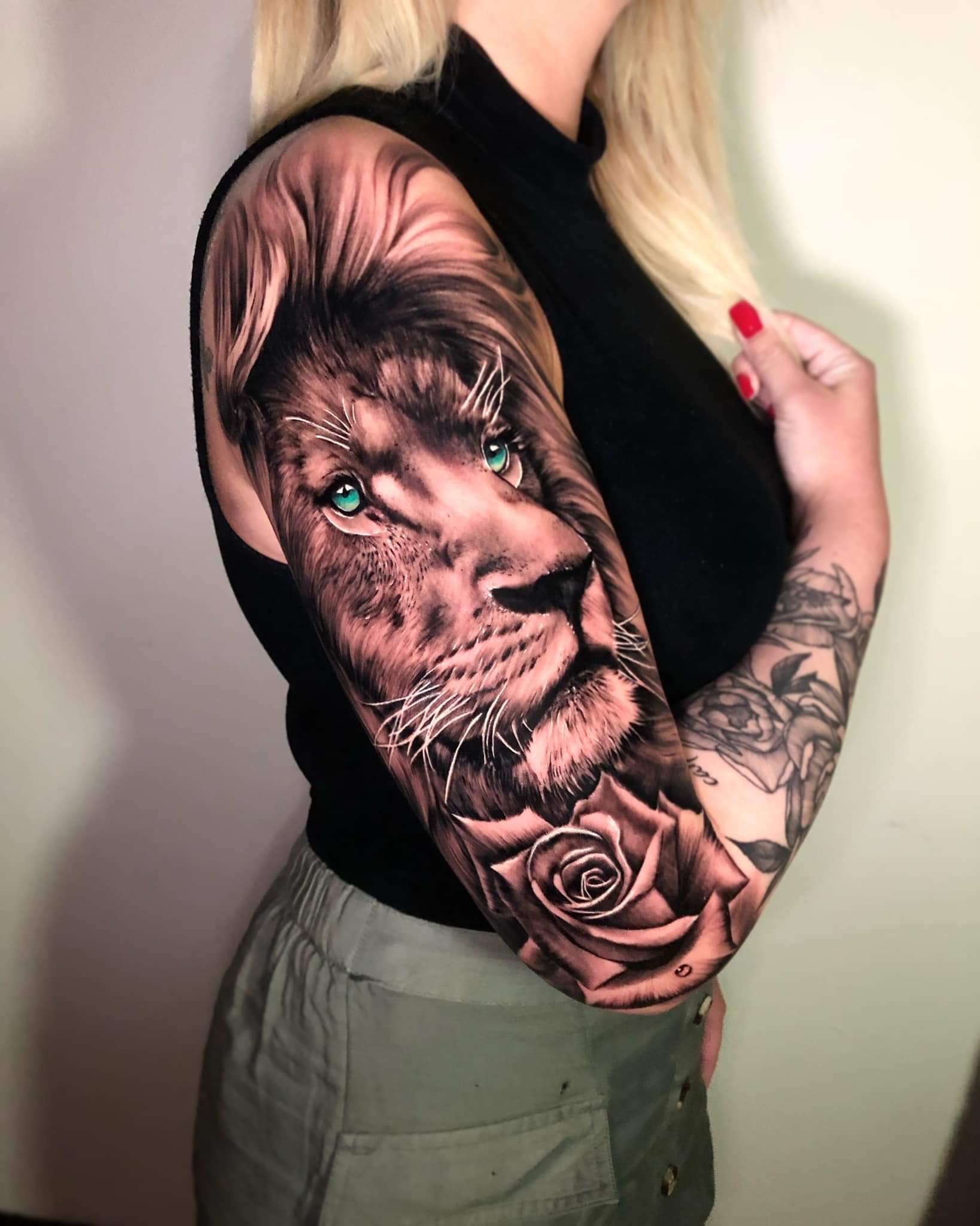 Lion Arm Tattoo by Tattooist Alec Turner