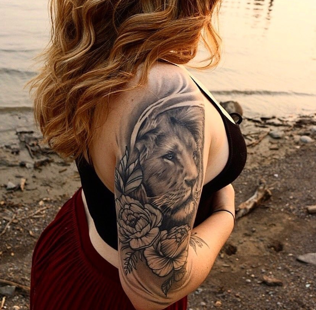 Healed Lion Tattoo by Alec Turner