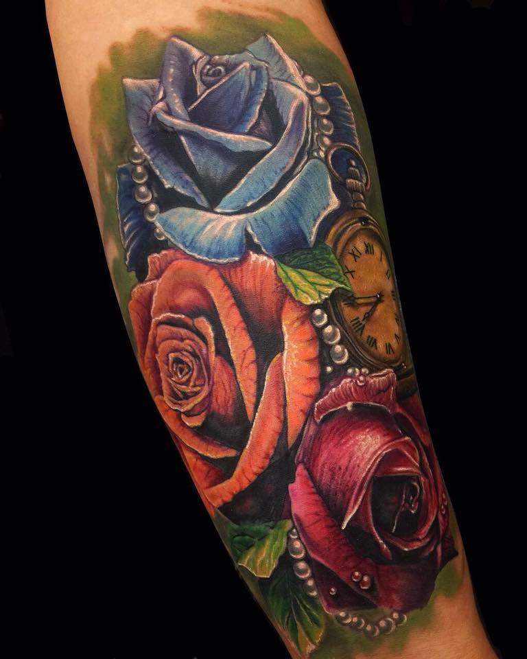 colorful roses tattoo