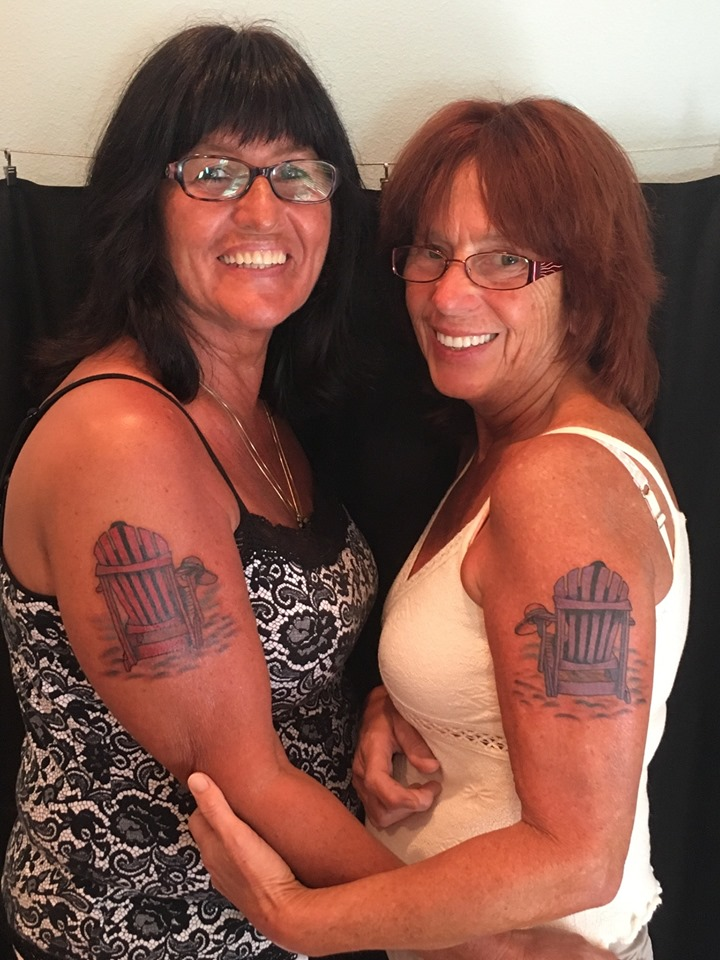 matching beach chair tattoos