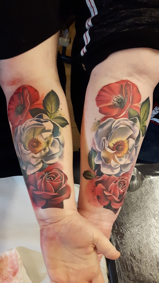 matching roses tattoos 1