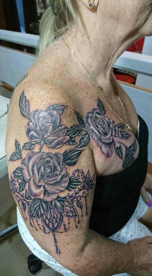 purple roses tattoo