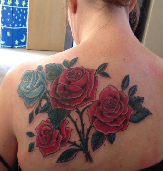 red blue roses tattoo