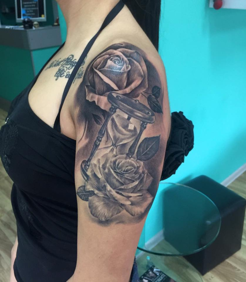 rose hourglass tattoo