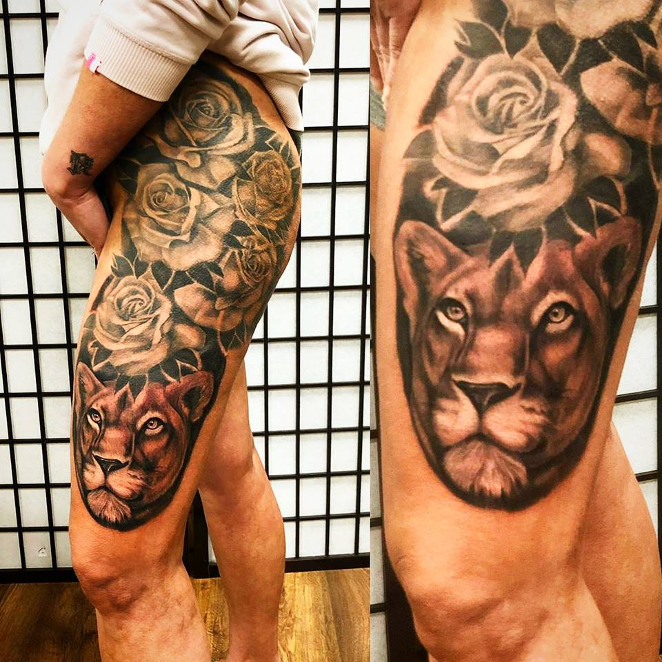 roses leg tattoo
