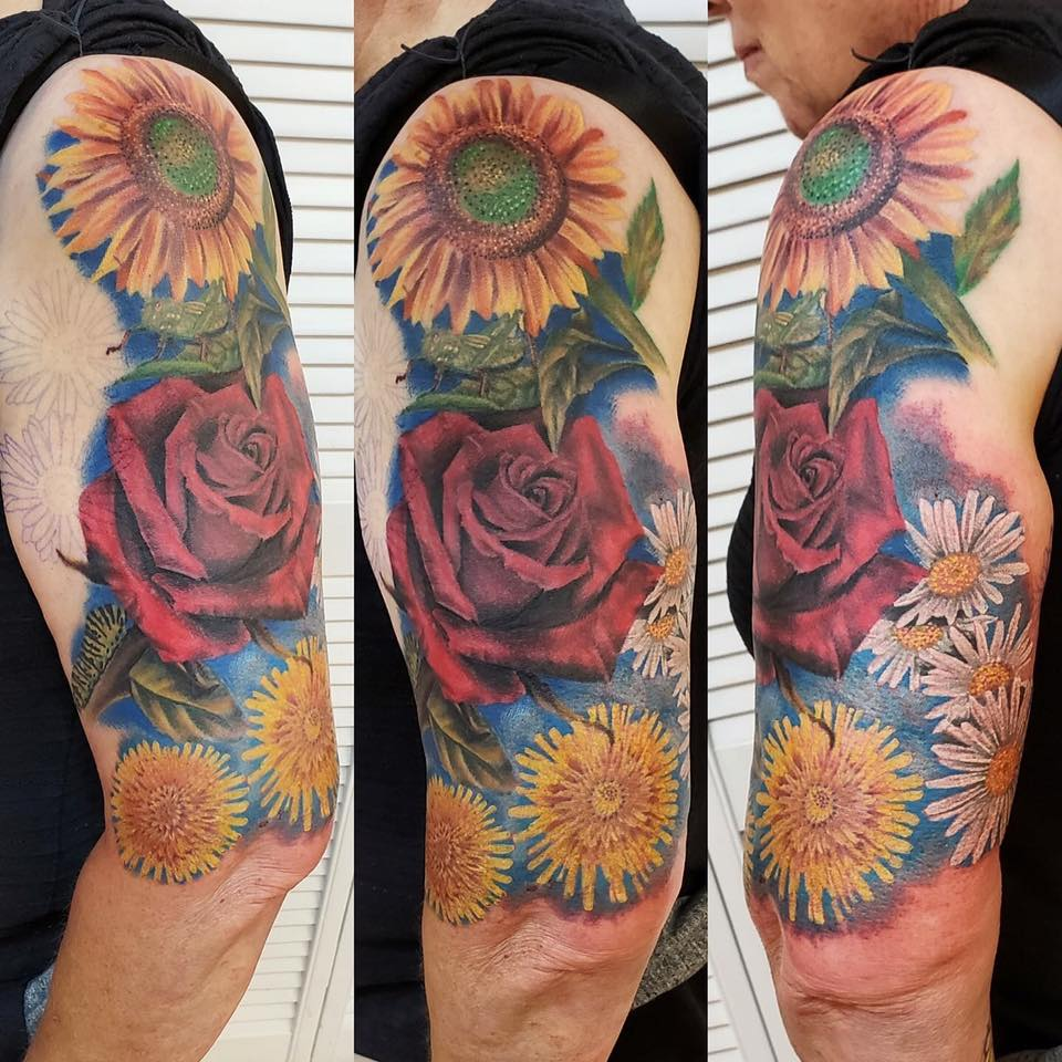 sunflower rose tattoo