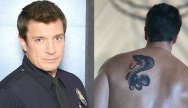 nathan fillion back tattoo